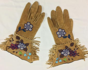 Native American Gauntlets made in Alaska in the 1920's with Beautiful Bead Work