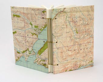 Ben Nevis Map Journal, Reclaimed Map Notebook, Mountain Journal, Walking Notes, Travel Journal, Scottish Notebook, Fort William, Sketchbook