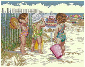 "Dimensions ""Beach Babies"" counted cross stitch kit"