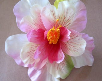 "4.5"" Tropical White Fuchsia Pink Hibiscus Poly Silk Flower Brooch Pin"