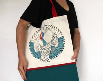 The big  japanese crane tote bag, hand printed fabric, japanese design inspired, hand made, limited edition, cotton