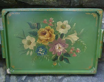 Tole Tray, Large, Wood. Green, Painted Flowers Roses. Vintage 1950s. Toleware Serving Ottoman Tray, Wall Decor. Cottage, Shabby Chic Decor.