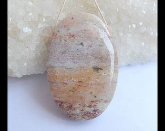 Reserved For Lisa J!!! Natural Ocean Jasper Gemstone Pendant Bead,Oval Pendant,45x30x10mm,22.1g(h0778)