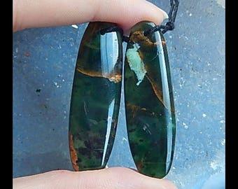 Latest Natural Green Opal Gemstone Earring Bead Semi Gemstone Wholesale Jewelry Gift Gem Customized 40x12x4mm,7.9g(E944)