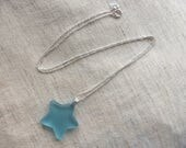 Tumbled Glass Star Pendant and Chain  Bombay Sapphire sterling silver  Tumbleworn
