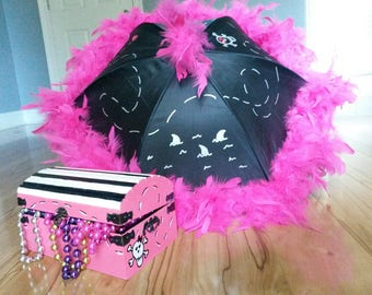 Pirate Princess Party Pack- Centerpiece- Pirate Gift- Pirate Girl Parasol Umbrella- Pirate Treasure Chest Painted Wood Personalized Birthday