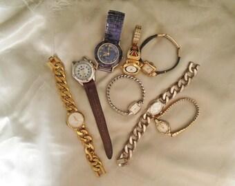 Wrist Watch Supplies, 8 Vintage Wrist Watches, Watch Supplies, Ladies Watches, Mens Watches, Elgin Timex Sharp, Repair, Restore, Upcycle