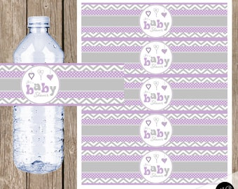 Purple and Gray Baby Shower Water Bottle Wraps - Chevron Baby Shower Water Bottle Label - Bottle Wrap  Baby Shower  INSTANT DOWNLOAD ph1