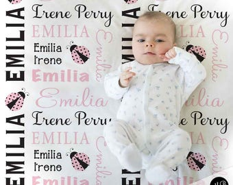 Ladybug Baby Blanket in pink and black for Baby Girl, personalized baby gift, ladybugs baby blanket, personalized blanket, choose colors