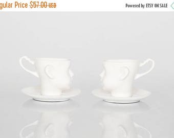 SALE Porcelain doll head cups - set of two cups with saucers, coffe mug or tea mug, white artisan cups
