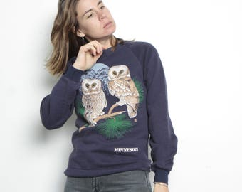 wild OWLS minnesota navy BLUE raglan sweatshirt size SMALL animal shirt top