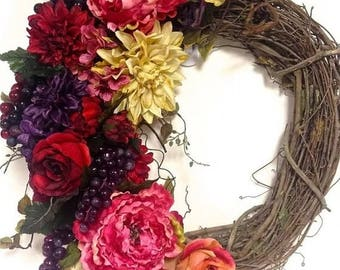 "CHRISTMAS IN JULY Tuscan Floral Wreath Fall Wreath Purple Red Cream Salmon Pink Silk Floral Wreath 24""x28"" Indoor Outdoor Grapes Peony Hydra"