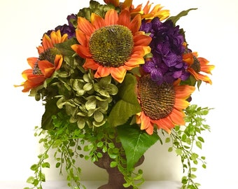 CHRISTMAS IN JULY Sunflower Peony Hydrangea Floral Arrangement Centerpiece Orange Purple Sage Green