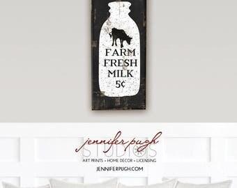 Farmhouse Farm Fresh Milk Bottle 8x18 Art Print  -Farm, Barn, Kitchen, Living, Vintage, Home, Wall Decor -Animals, Black, White
