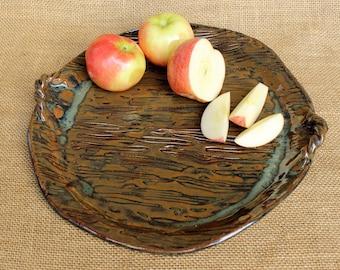 Round ceramic hand built stoneware pottery serving platter