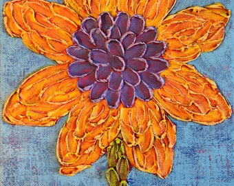 Sunflower Art ... Small Paintings...Flower Impasto Art...Small Art 8x10...Original Art...Ready to Hang ... Red Painting
