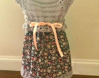 Baby girl gray and black crochet top dress