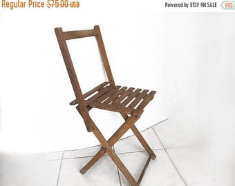 Folding Fisherman's Stool, french antique, in wood and metal