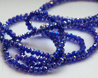 Half or Full Strand 4x3mm Transparent Dark Blue AB, Sapphire Blue AB Faceted Rondelle Glass Beads tsb/ab