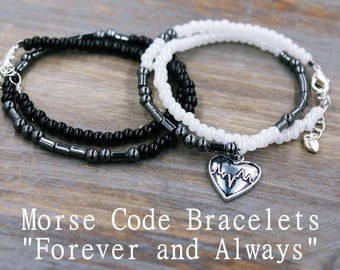 Forever and Always Matching Bracelets, Relationship Gift, Couples Bracelet Set, Love You Forever, Boyfriend Jewelry, Couples Jewelry