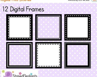 40% OFF SALE Square Digital Frame Collection 1 - Clipart Frames - Instant Download - Commercial Use