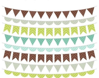 40% OFF SALE Boy Bunting Clip Art, Brown and Green Banner Flags Clipart, Bunting Graphics, Commercial, Instant Download