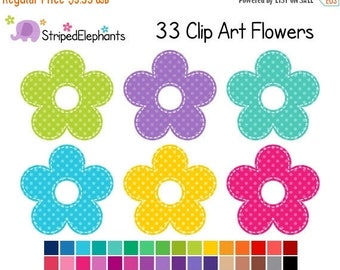 40% OFF SALE Flower Clipart Polka Dots - Digital Clip Art - Instant Download - Commercial Use