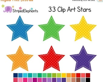 40% OFF SALE Stitched Star Clip Art Polka Dot - Digital Clipart - Instant Download - Commercial Use