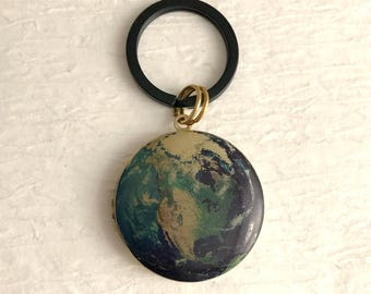 Blue Planet Earth Locket Keychain, men's groomsmen gold vintage antique travel picture photo unisex birthday gift gifts for him