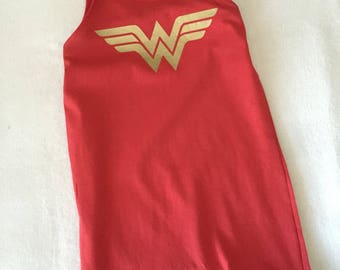 Wonder Woman Romper Baby Toddler Girls Red and Gold 6 9 12 18 24 months 2T 3T 4T costume dress up Super Hero upcycled TShirt Shorts Tank Top