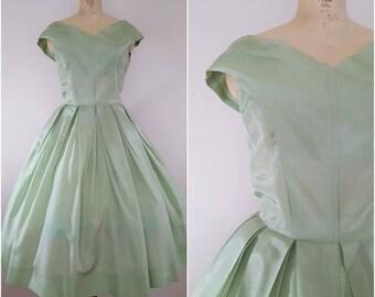Vintage 1950s Sage Green Dress / Chiffon Cocktail Dress / Small Medium