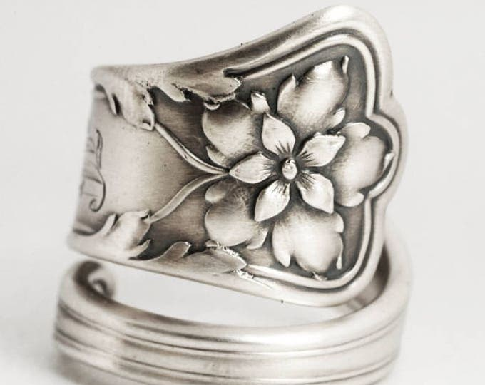 Columbine Flower Ring, Sterling Silver Spoon Ring, Gorham Silver, Antique Spoon Atlanta, Floral Spoon Ring, Mono E, Custom Ring Size (6921)