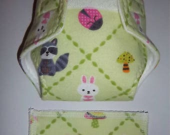 Baby Doll Diaper/wipe - forest animals/insects on apple green diamonds - adjustable for many dolls such as bitty baby