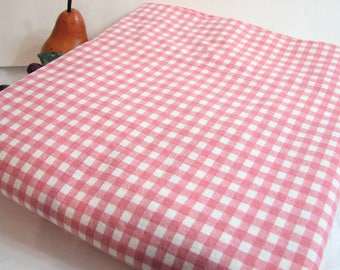 Vintage Ralph Lauren Pink GINGHAM Check Queen Flat Sheet ... RL Polo Blue Label, Queen Size Bedding