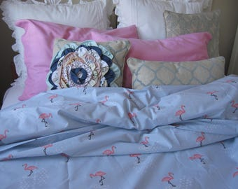 Pink flamingo print duvet cover 120x98 shabby chic bedding pastoral Twin /Queen double Cal King super oversized duvet cover animal lover