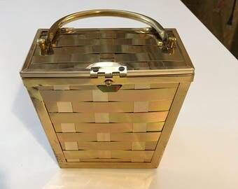Vintage 50s Gold Basket Weave Box Purse