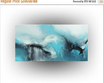 ON SALE Turquoise Abstract Original PAINTING - 18 x 36 - Skye Taylor