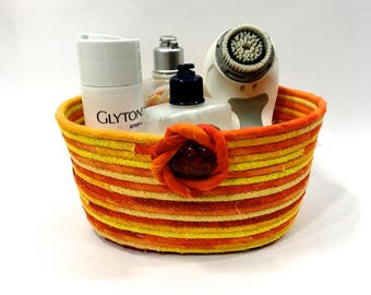 Coiled Rope Bowl  Bathroom Catch All Basket  Clothesline Organizer  Bright Orange Yellow  Handmade Quilted Fiber Art  Functional Home Decor