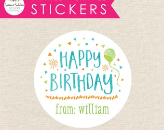 Custom Kids Birthday Tags, Personalized Gift Stickers, Birthday Present Labels, Boys stickers for Gifts, Lauren Haddox Design