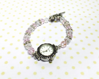 Crystal  Watch/Bracelet, Two Tone silver Face, Clear Rhinestones Spacers, Antique Looking, item  no. L112