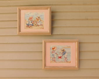 Vintage Framed Cross Stitch Beach Theme Pictures, Nautical Needlepoint, Sandcastles, Sailboats and Children