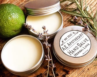 Hand salve - herbal balm SALE! - all natural - skincare - winter hands  - cuticle cream - Shea, coconut, avocado oil