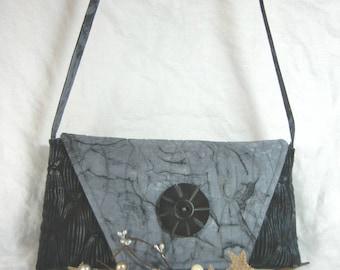 Quilted Shoulder Bag/Clutch - Charcoal Batik