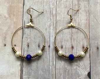Gorgeous navy and pearl beaded hoop dangle earrings