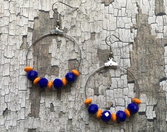 Orange and blue beaded earrings