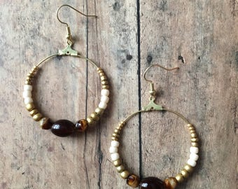 gold and brown beaded hoop earrings