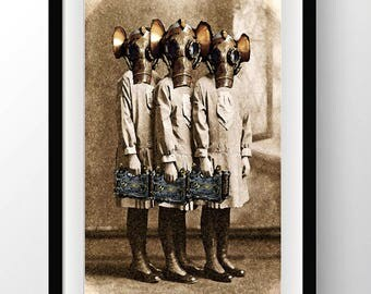 Steampunk Altered art print time travel Sisters instant downloadable art  macabre print gas mask sepia photo collage