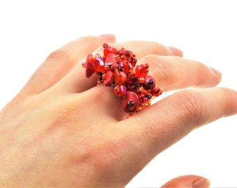 Guatemalan Handcrafted Sea Glass and Gemstone Beaded Ring Red