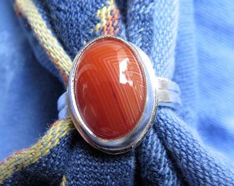 Red Orange Carnelian Sardonyx in Argentium Ring Size 7 & a Half