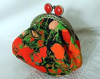Retro purse in green and orange velvet